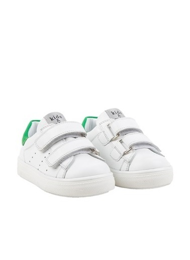 Kids A More Papillon Çift Cırtlı Deri Unisex Çocuk Ayakkabı Beyaz-Yeşil Beyaz